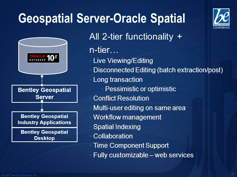 © 2007 Bentley Systems, Inc. 37 Geospatial Server-Oracle Spatial All 2-tier functionality + n-tier… Live Viewing/Editing Disconnected Editing (batch e