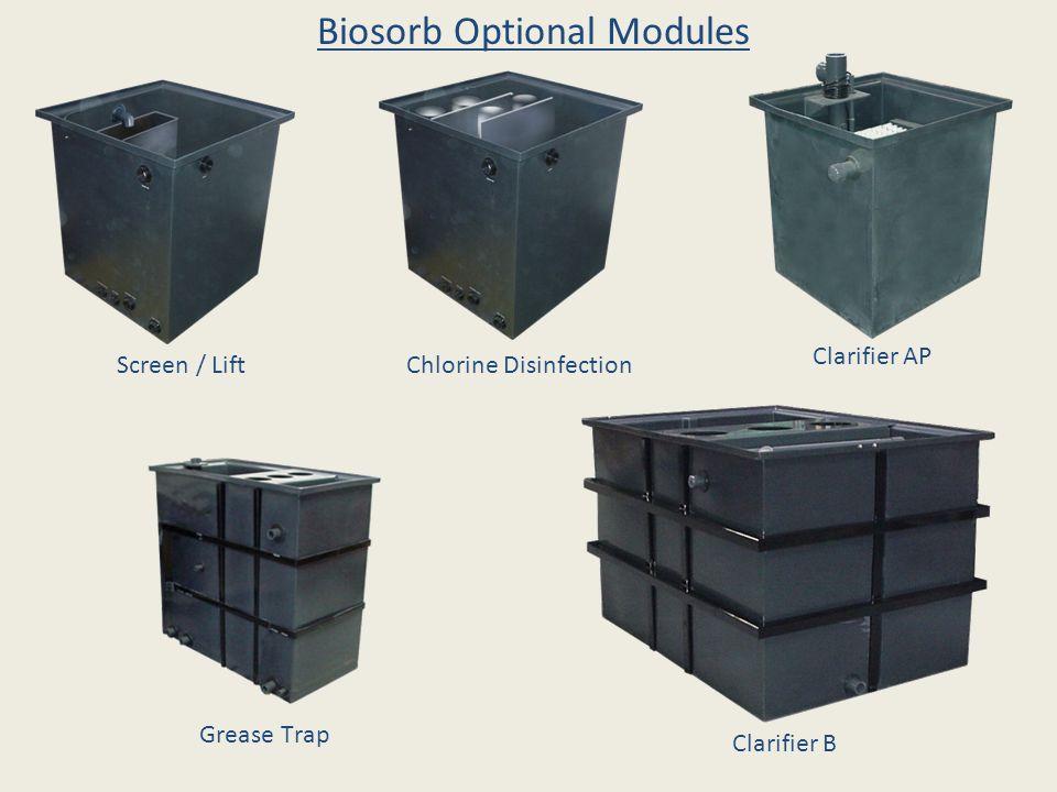 Screen / LiftChlorine Disinfection Clarifier AP Clarifier B Grease Trap Biosorb Optional Modules