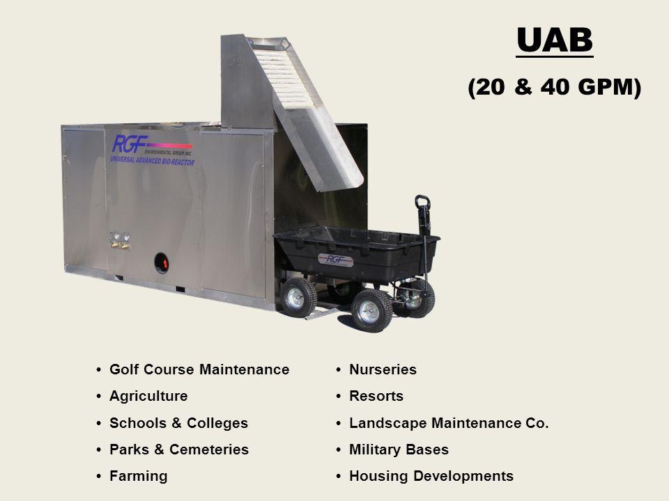 UAB (20 & 40 GPM) Golf Course Maintenance Agriculture Schools & Colleges Parks & Cemeteries Farming Nurseries Resorts Landscape Maintenance Co. Milita
