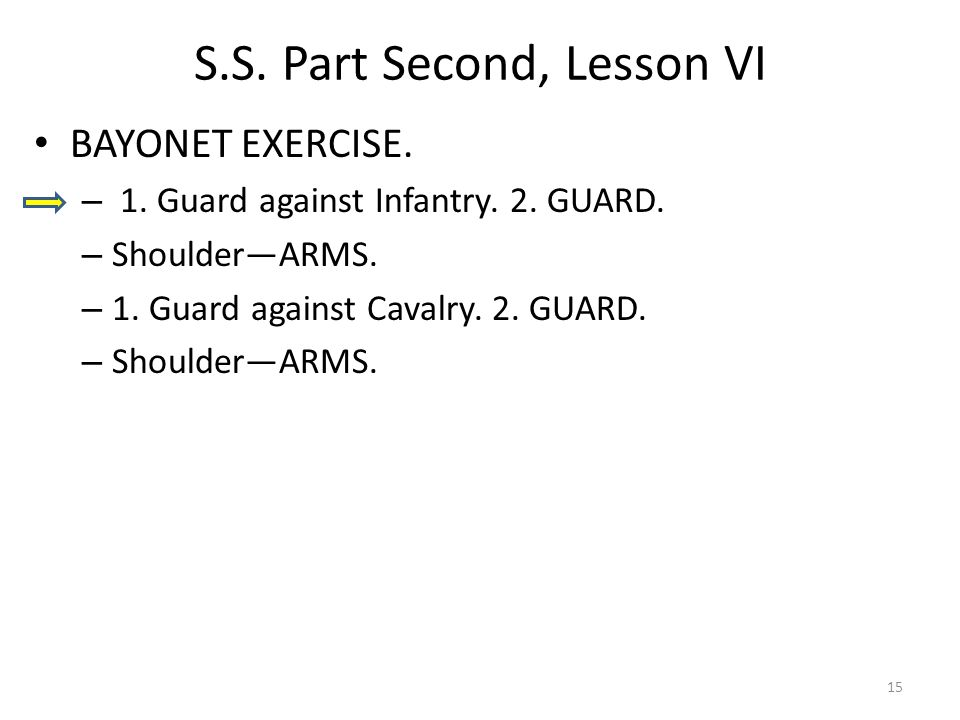 S.S. Part Second, Lesson VI BAYONET EXERCISE. – 1.