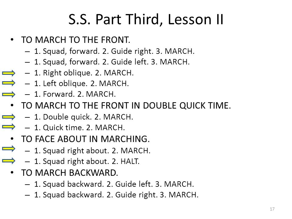 S.S. Part Third, Lesson II TO MARCH TO THE FRONT.