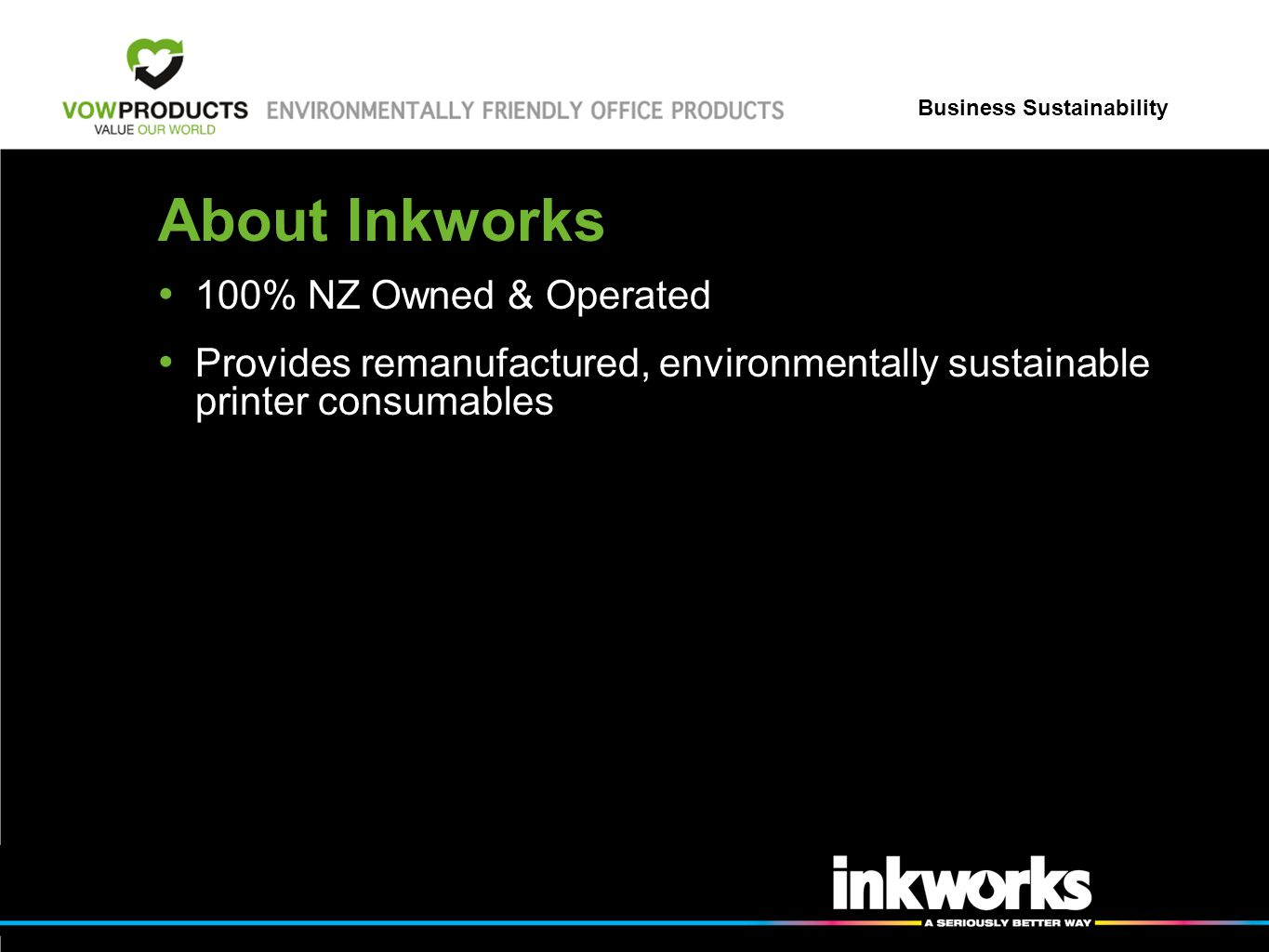 Business Sustainability About Inkworks 100% NZ Owned & Operated Provides remanufactured, environmentally sustainable printer consumables