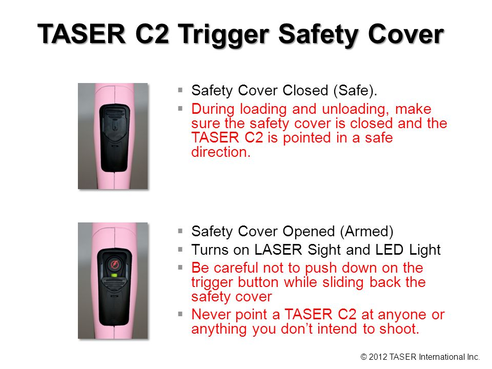 TASER C2 Trigger Safety Cover Safety Cover Closed (Safe).