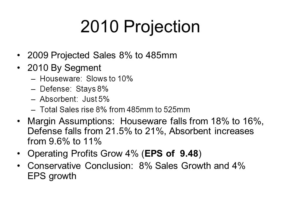 2010 Projection 2009 Projected Sales 8% to 485mm 2010 By Segment –Houseware: Slows to 10% –Defense: Stays 8% –Absorbent: Just 5% –Total Sales rise 8%