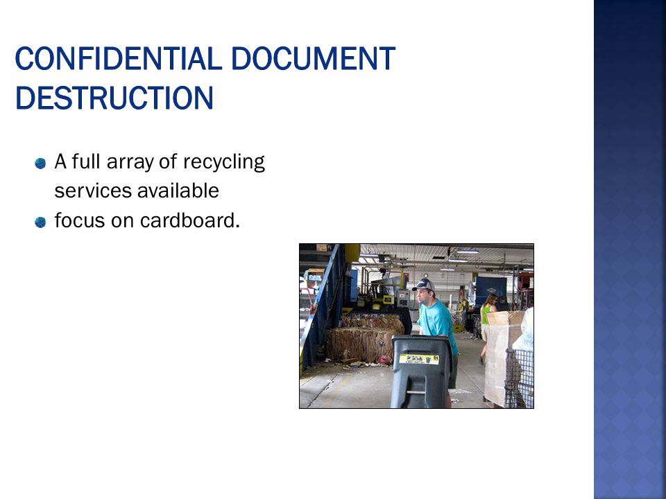 A full array of recycling services available focus on cardboard.