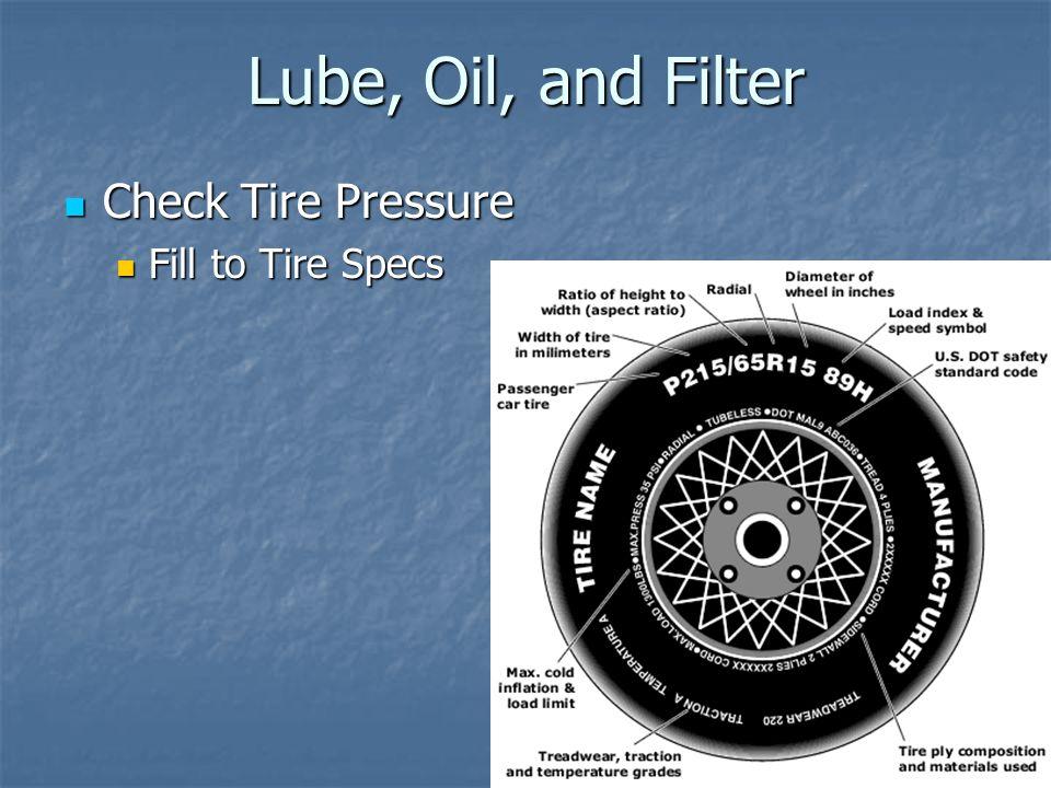 Lube, Oil, and Filter Check Tire Pressure Check Tire Pressure Fill to Tire Specs Fill to Tire Specs