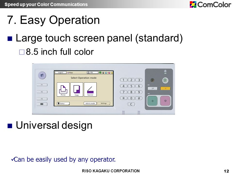 Speed up your Color Communications RISO KAGAKU CORPORATION 12 7. Easy Operation Large touch screen panel (standard) 8.5 inch full color Universal desi