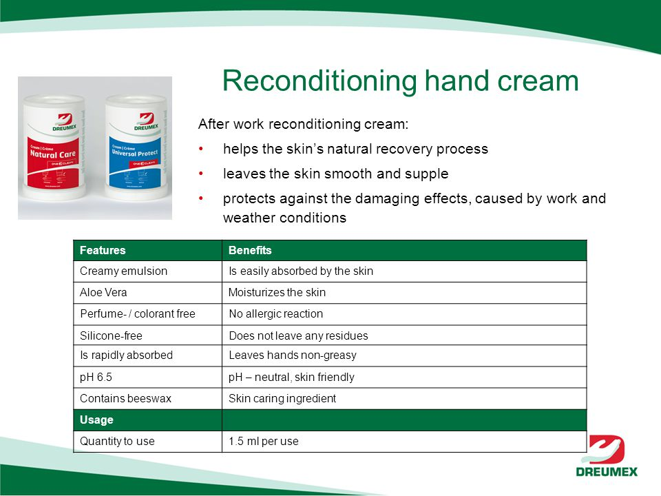 Reconditioning hand cream FeaturesBenefits Creamy emulsionIs easily absorbed by the skin Aloe VeraMoisturizes the skin Perfume- / colorant freeNo allergic reaction Silicone-freeDoes not leave any residues Is rapidly absorbedLeaves hands non-greasy pH 6.5pH – neutral, skin friendly Contains beeswaxSkin caring ingredient Usage Quantity to use1.5 ml per use After work reconditioning cream: helps the skins natural recovery process leaves the skin smooth and supple protects against the damaging effects, caused by work and weather conditions