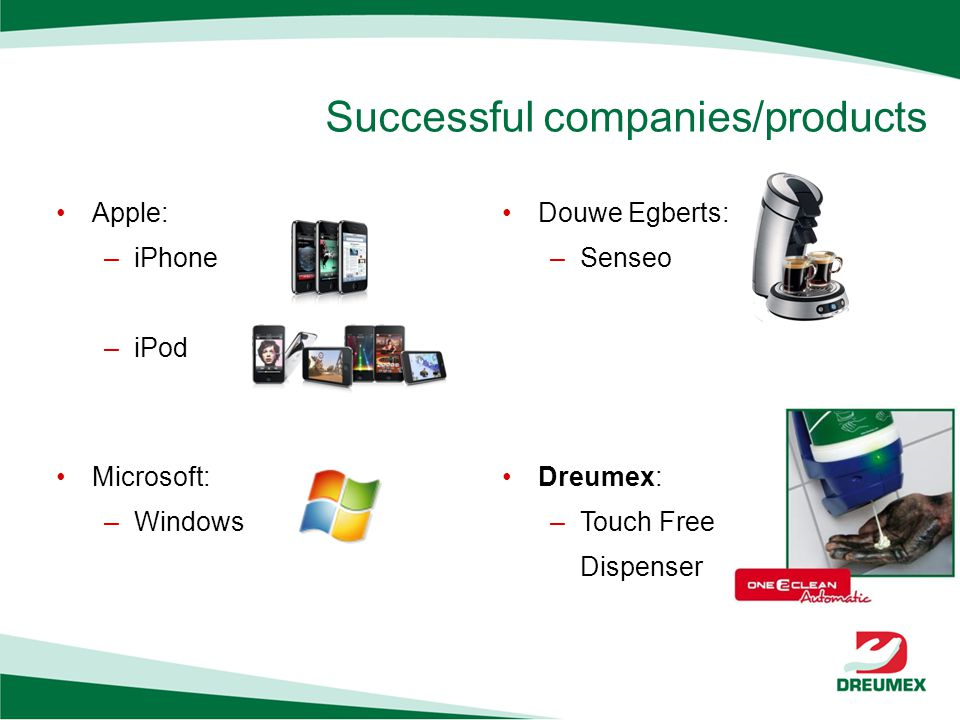 Successful companies/products Apple: –iPhone –iPod Microsoft: –Windows Douwe Egberts: –Senseo Dreumex: –Touch Free Dispenser
