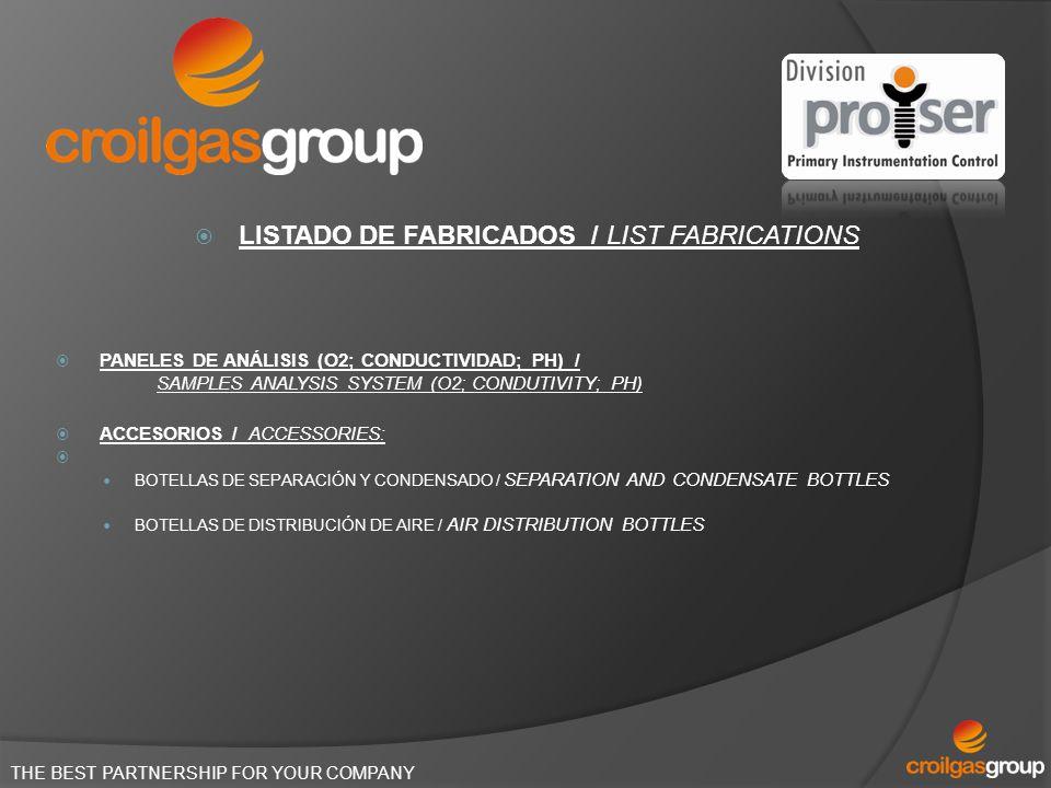 THE BEST PARTNERSHIP FOR YOUR COMPANY LISTADO DE FABRICADOS / LIST FABRICATIONS PANELES DE ANÁLISIS (O2; CONDUCTIVIDAD; PH) / SAMPLES ANALYSIS SYSTEM