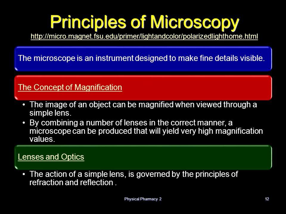Physical Pharmacy 212 Principles of Microscopy Principles of Microscopy http://micro.magnet.fsu.edu/primer/lightandcolor/polarizedlighthome.html http: