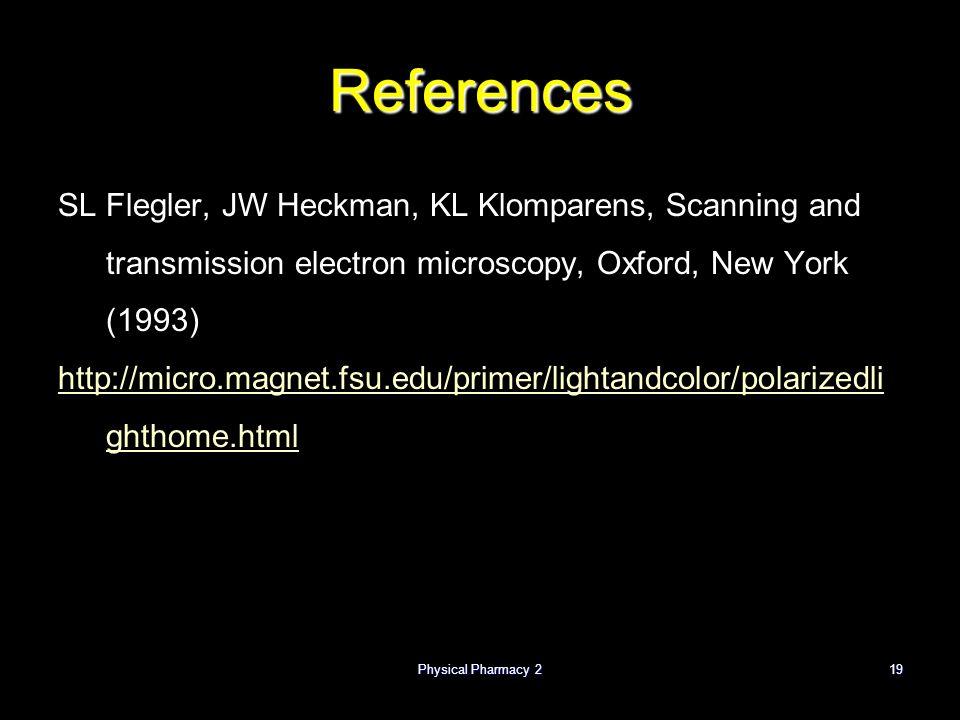 Physical Pharmacy 219 References SL Flegler, JW Heckman, KL Klomparens, Scanning and transmission electron microscopy, Oxford, New York (1993) http://