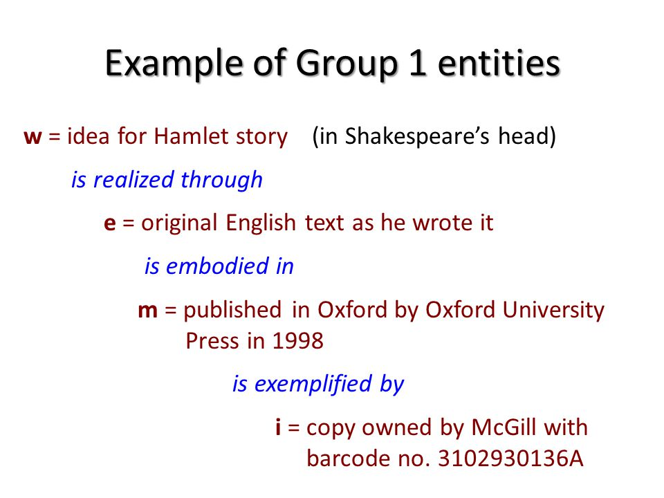 Example of Group 1 entities w = idea for Hamlet story (in Shakespeares head) is realized through e = original English text as he wrote it is embodied in m = published in Oxford by Oxford University Press in 1998 is exemplified by i = copy owned by McGill with barcode no.