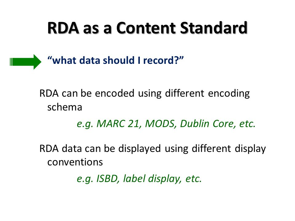 RDA as a Content Standard what data should I record.