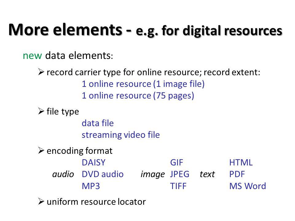 More elements - e.g.