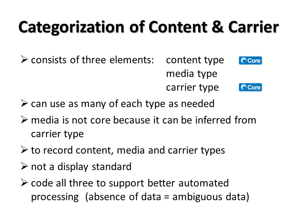 Categorization of Content & Carrier consists of three elements:content type media type carrier type can use as many of each type as needed media is not core because it can be inferred from carrier type to record content, media and carrier types not a display standard code all three to support better automated processing (absence of data = ambiguous data)