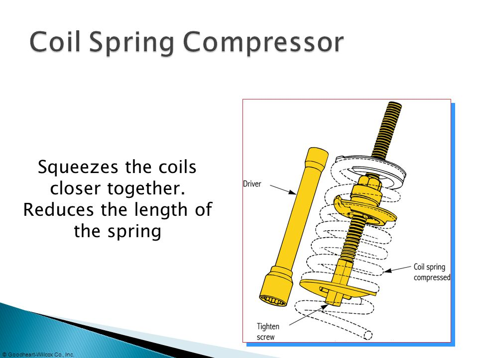 © Goodheart-Willcox Co., Inc. Squeezes the coils closer together. Reduces the length of the spring
