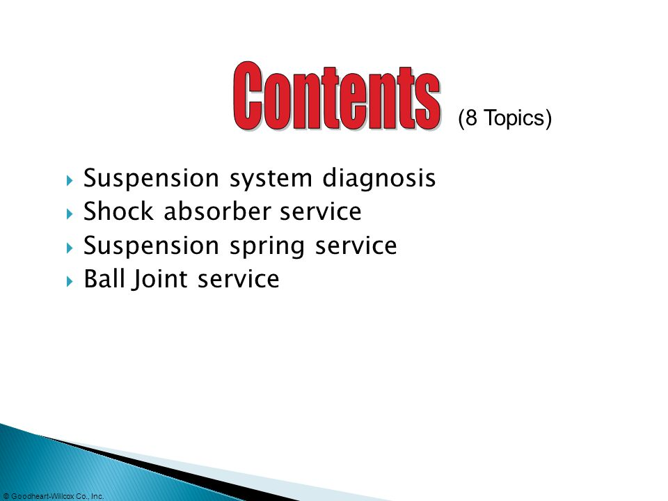 Suspension system diagnosis Shock absorber service Suspension spring service Ball Joint service (8 Topics)