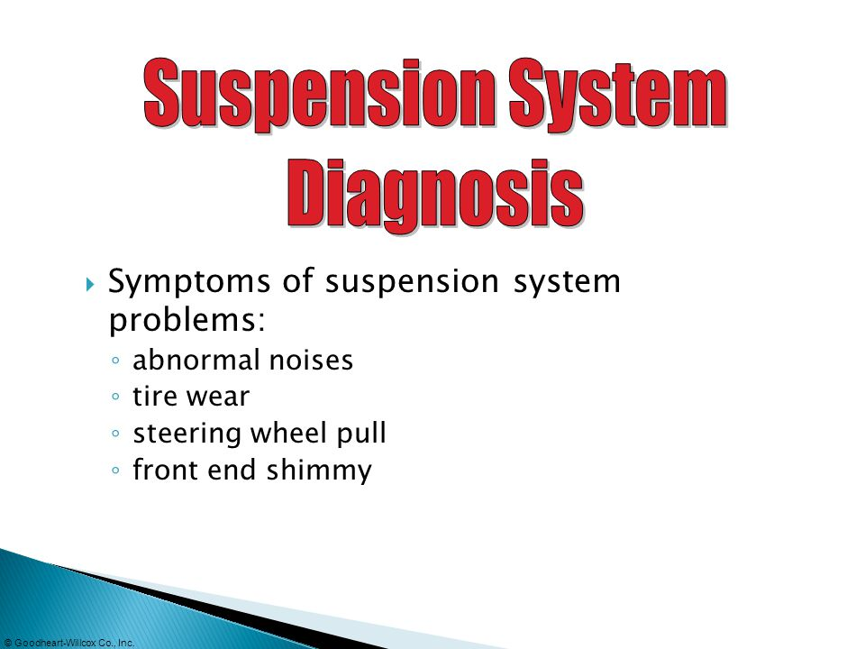 © Goodheart-Willcox Co., Inc. Symptoms of suspension system problems: abnormal noises tire wear steering wheel pull front end shimmy
