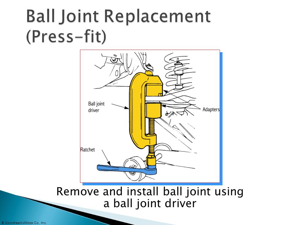 © Goodheart-Willcox Co., Inc. Remove and install ball joint using a ball joint driver