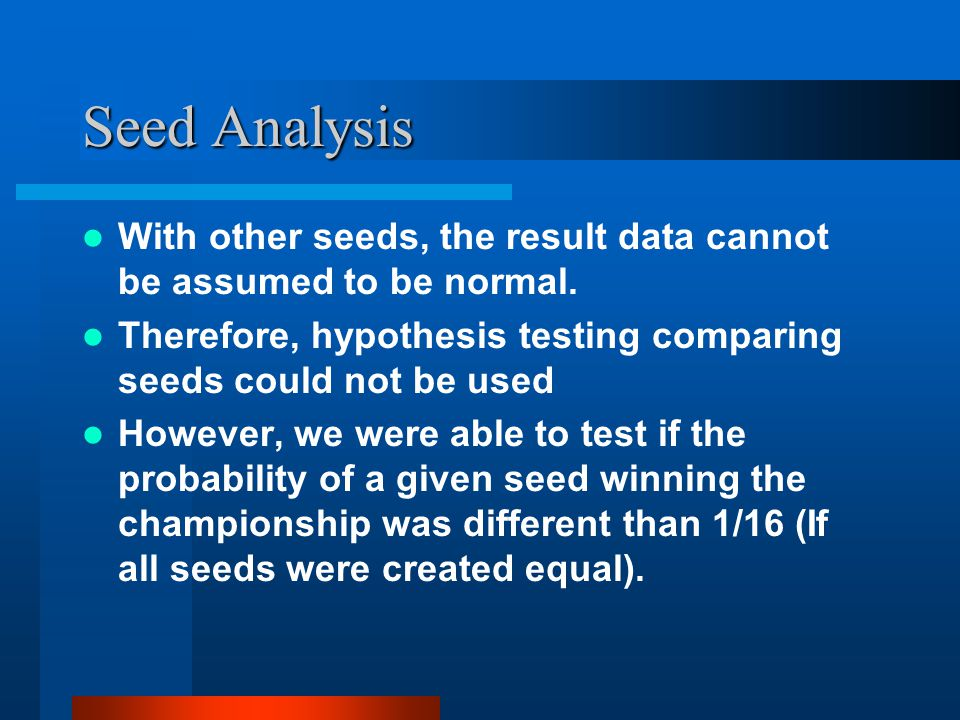 Seed Analysis With other seeds, the result data cannot be assumed to be normal. Therefore, hypothesis testing comparing seeds could not be used Howeve