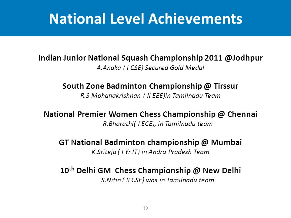 10 National Level Achievements Indian Junior National Squash Championship 2011 @Jodhpur A.Anaka ( I CSE) Secured Gold Medal South Zone Badminton Championship @ Tirssur R.S.Mohanakrishnan ( II EEE)in Tamilnadu Team National Premier Women Chess Championship @ Chennai R.Bharathi( I ECE), in Tamilnadu team GT National Badminton championship @ Mumbai K.Sriteja ( I Yr IT) in Andra Pradesh Team 10 th Delhi GM Chess Championship @ New Delhi S.Nitin ( II CSE) was in Tamilnadu team
