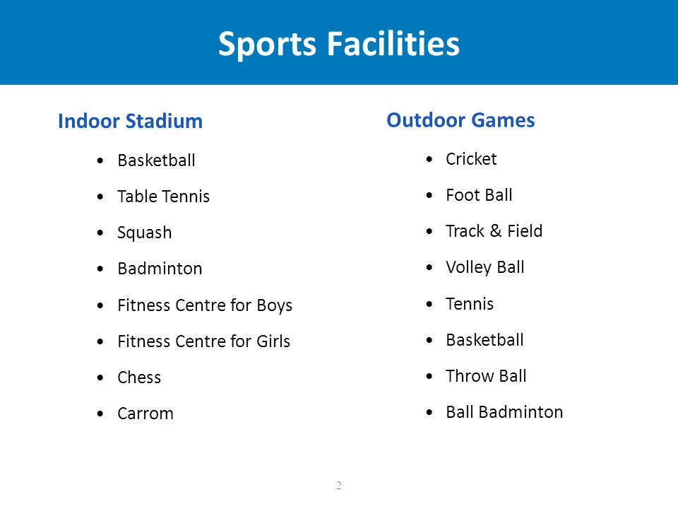 2 Sports Facilities Indoor Stadium Basketball Table Tennis Squash Badminton Fitness Centre for Boys Fitness Centre for Girls Chess Carrom Outdoor Games Cricket Foot Ball Track & Field Volley Ball Tennis Basketball Throw Ball Ball Badminton