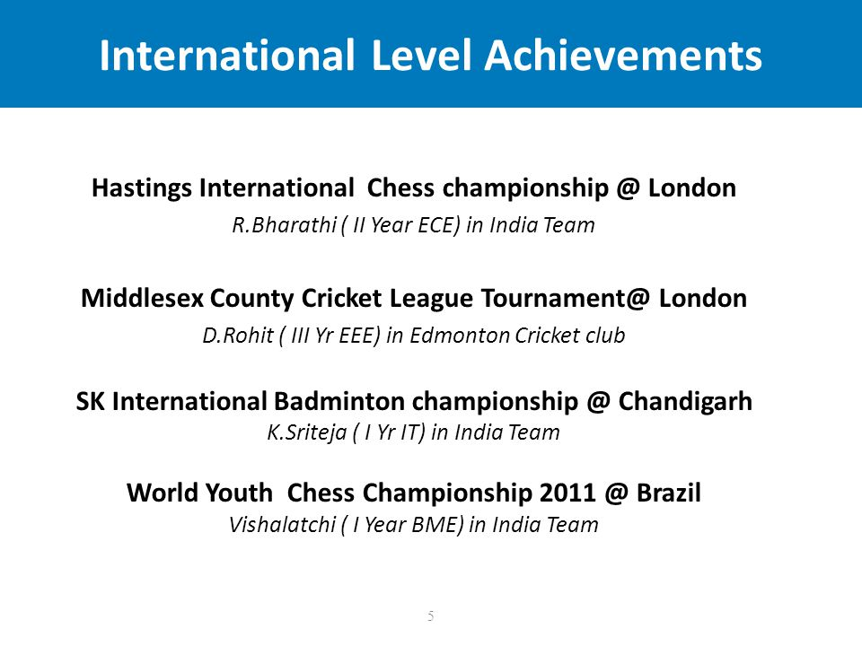 5 International Level Achievements Hastings International Chess championship @ London R.Bharathi ( II Year ECE) in India Team Middlesex County Cricket League Tournament@ London D.Rohit ( III Yr EEE) in Edmonton Cricket club SK International Badminton championship @ Chandigarh K.Sriteja ( I Yr IT) in India Team World Youth Chess Championship 2011 @ Brazil Vishalatchi ( I Year BME) in India Team
