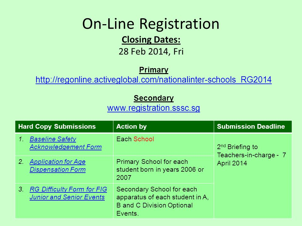 On-Line Registration Closing Dates: 28 Feb 2014, Fri Primary http://regonline.activeglobal.com/nationalinter-schools_RG2014 Secondary www.registration.sssc.sg Hard Copy SubmissionsAction bySubmission Deadline 1.Baseline Safety Acknowledgement FormBaseline Safety Acknowledgement Form Each School 2 nd Briefing to Teachers-in-charge - 7 April 2014 2.Application for Age Dispensation FormApplication for Age Dispensation Form Primary School for each student born in years 2006 or 2007 3.RG Difficulty Form for FIG Junior and Senior EventsRG Difficulty Form for FIG Junior and Senior Events Secondary School for each apparatus of each student in A, B and C Division Optional Events.