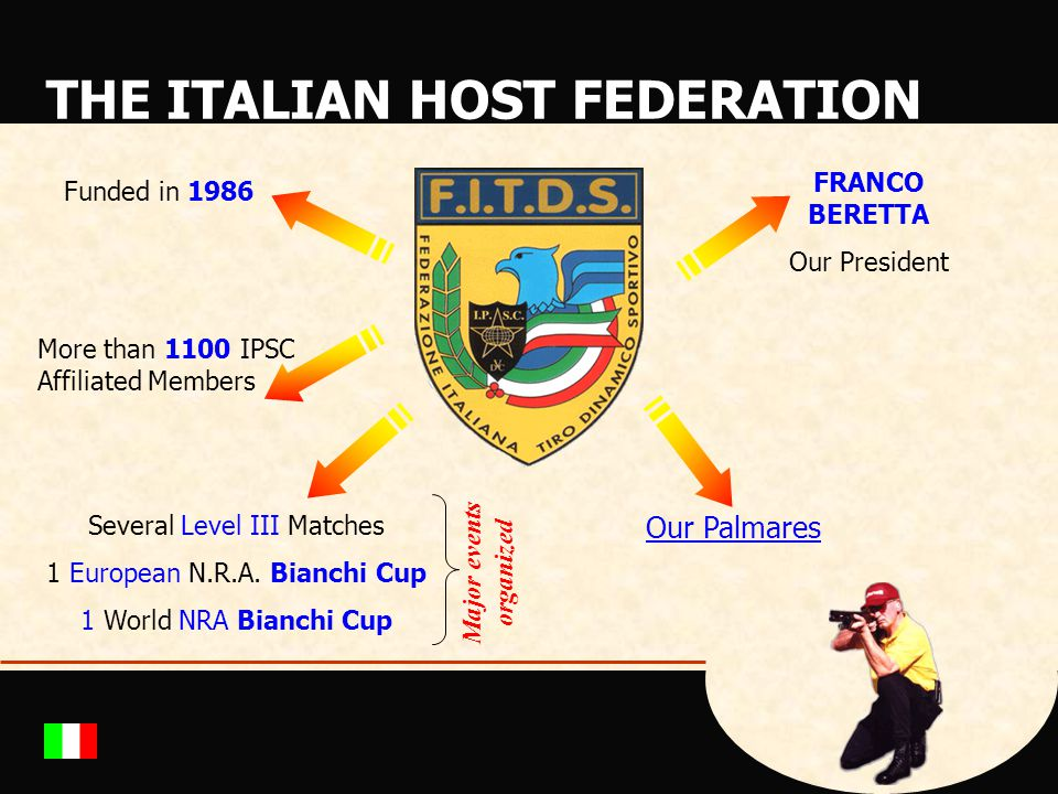 THE ITALIAN HOST FEDERATION Funded in 1986 FRANCO BERETTA Our President Several Level III Matches 1 European N.R.A. Bianchi Cup 1 World NRA Bianchi Cu