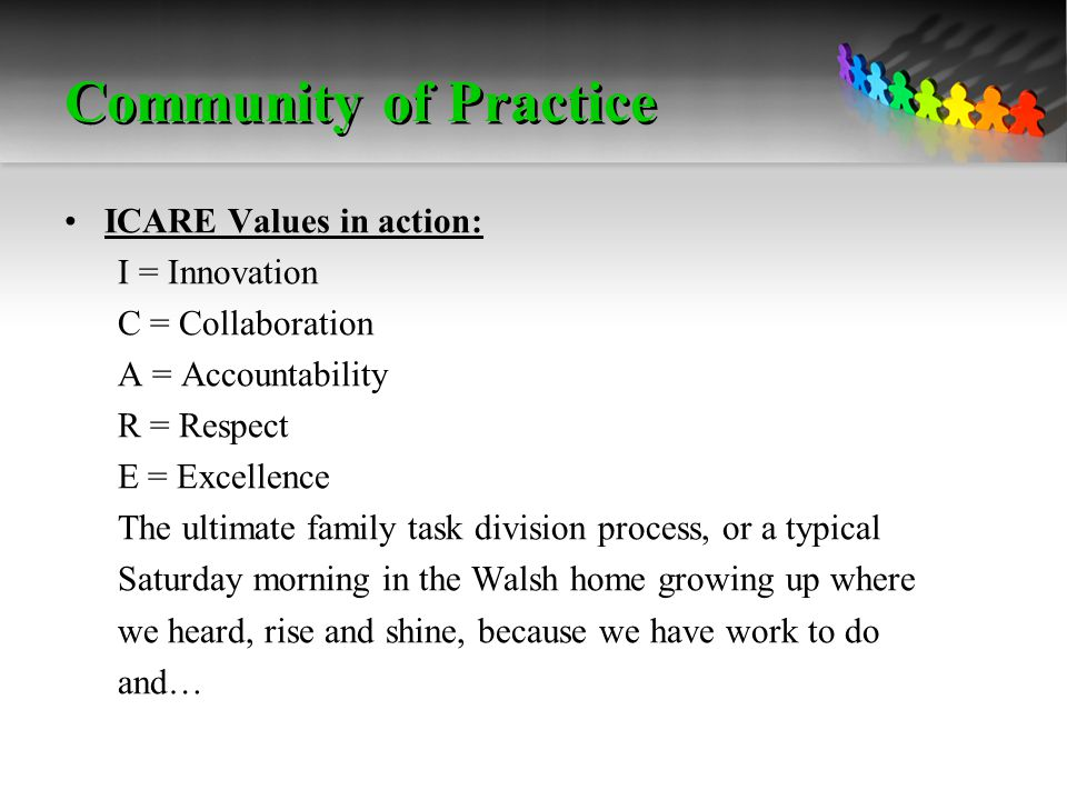 Community of Practice ICARE Values in action: I = Innovation C = Collaboration A = Accountability R = Respect E = Excellence The ultimate family task division process, or a typical Saturday morning in the Walsh home growing up where we heard, rise and shine, because we have work to do and…