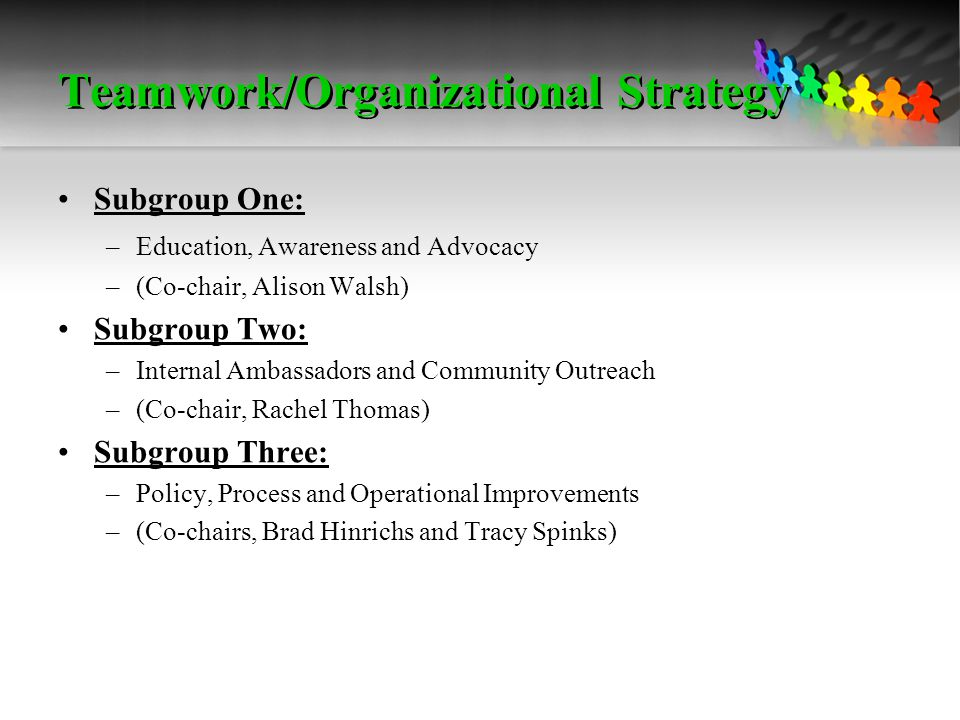 Teamwork/Organizational Strategy Subgroup One: –Education, Awareness and Advocacy –(Co-chair, Alison Walsh) Subgroup Two: –Internal Ambassadors and Community Outreach –(Co-chair, Rachel Thomas) Subgroup Three: –Policy, Process and Operational Improvements –(Co-chairs, Brad Hinrichs and Tracy Spinks)