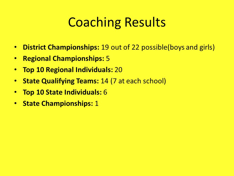 Coaching Results District Championships: 19 out of 22 possible(boys and girls) Regional Championships: 5 Top 10 Regional Individuals: 20 State Qualifying Teams: 14 (7 at each school) Top 10 State Individuals: 6 State Championships: 1