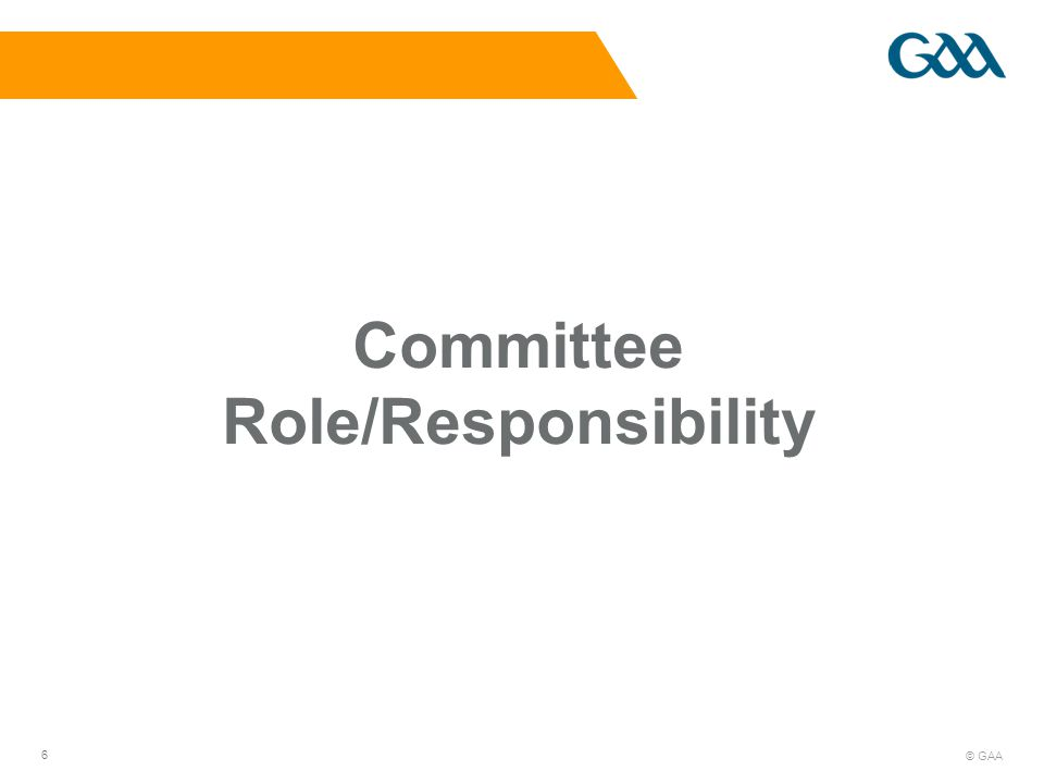 © GAA 6 Committee Role/Responsibility