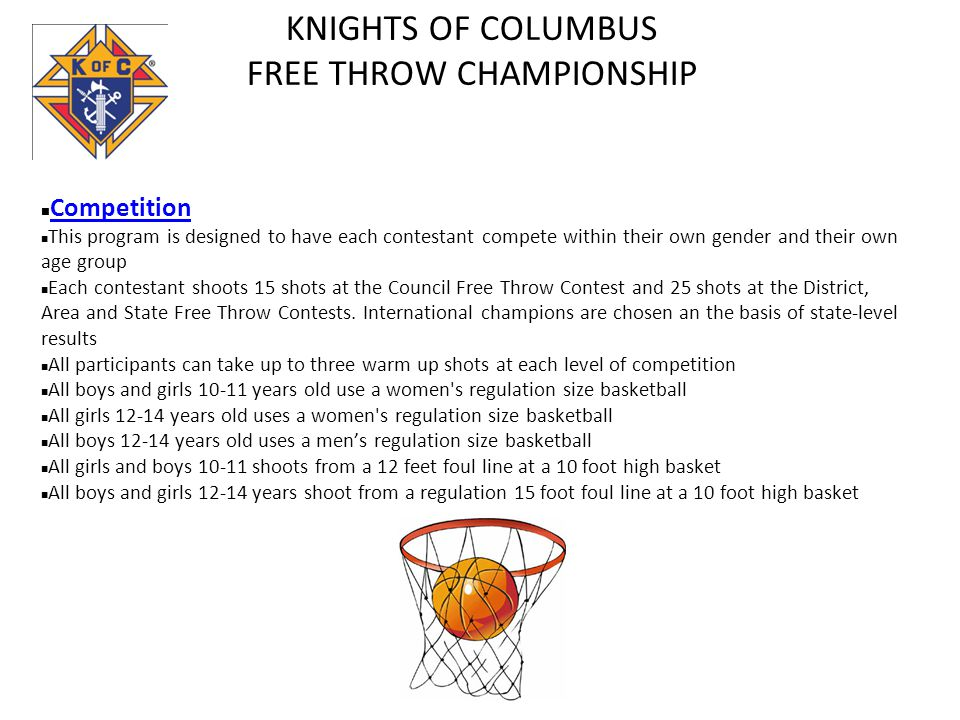 KNIGHTS OF COLUMBUS FREE THROW CHAMPIONSHIP Competition This program is designed to have each contestant compete within their own gender and their own age group Each contestant shoots 15 shots at the Council Free Throw Contest and 25 shots at the District, Area and State Free Throw Contests.