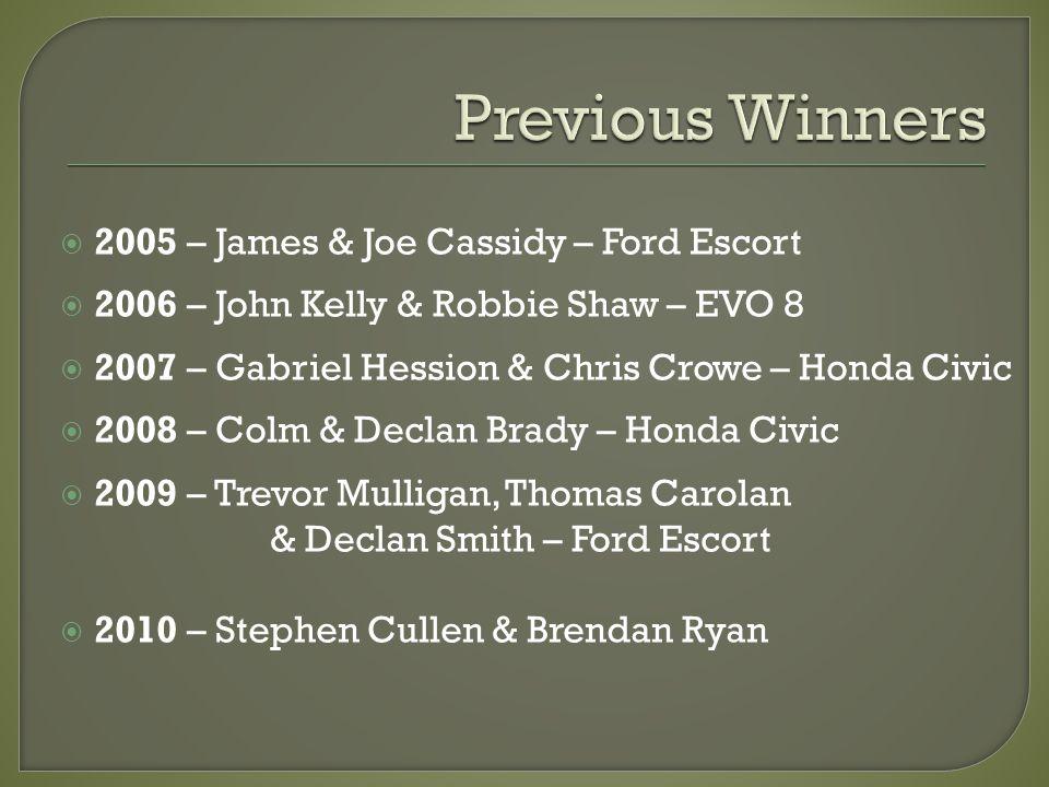 2005 – James & Joe Cassidy – Ford Escort 2006 – John Kelly & Robbie Shaw – EVO 8 2007 – Gabriel Hession & Chris Crowe – Honda Civic 2008 – Colm & Decl