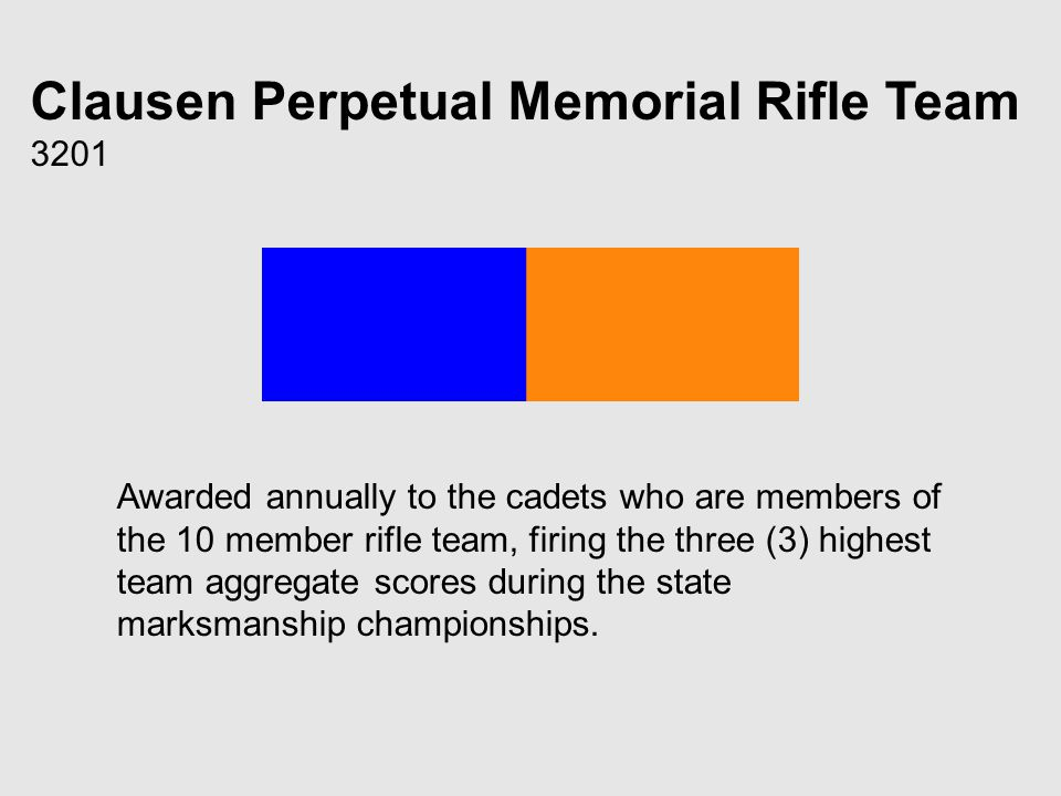 Clausen Perpetual Memorial Rifle Team 3201 Awarded annually to the cadets who are members of the 10 member rifle team, firing the three (3) highest team aggregate scores during the state marksmanship championships.