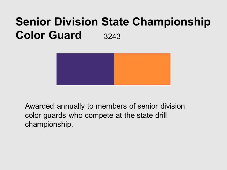 Senior Division State Championship Color Guard 3243 Awarded annually to members of senior division color guards who compete at the state drill championship.