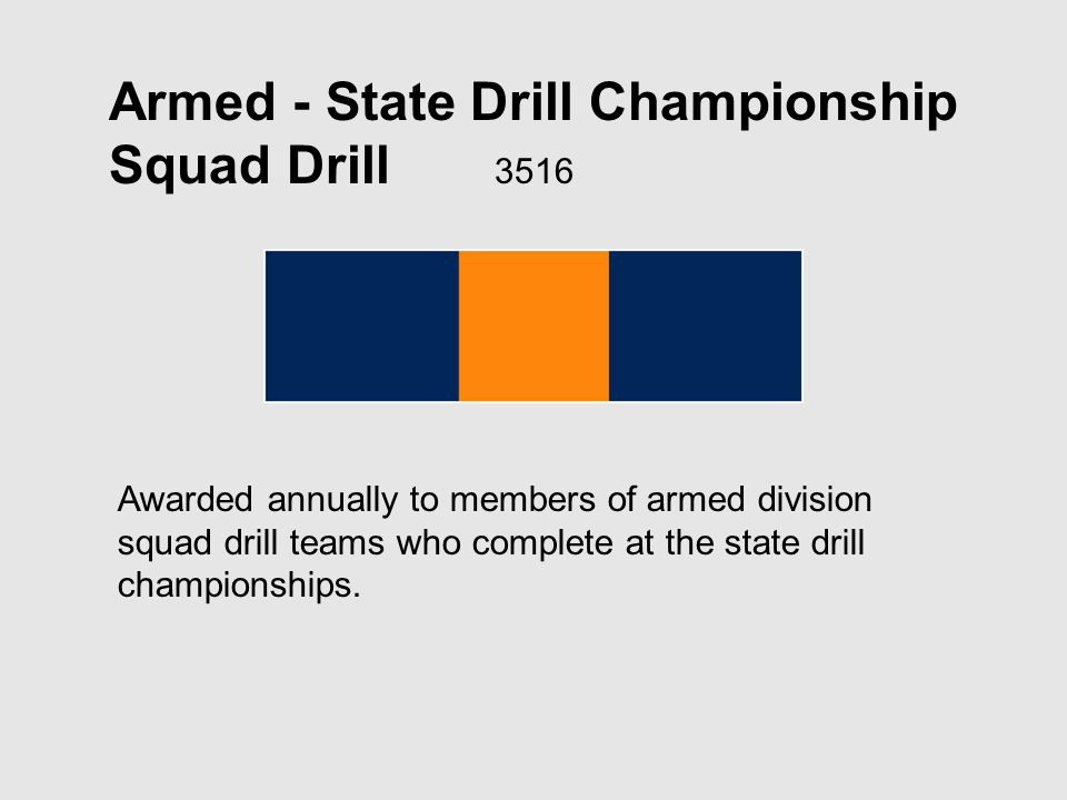 Armed - State Drill Championship Squad Drill 3516 Awarded annually to members of armed division squad drill teams who complete at the state drill championships.