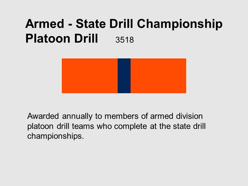 Armed - State Drill Championship Platoon Drill 3518 Awarded annually to members of armed division platoon drill teams who complete at the state drill championships.