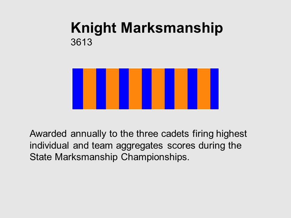 Knight Marksmanship 3613 Awarded annually to the three cadets firing highest individual and team aggregates scores during the State Marksmanship Championships.