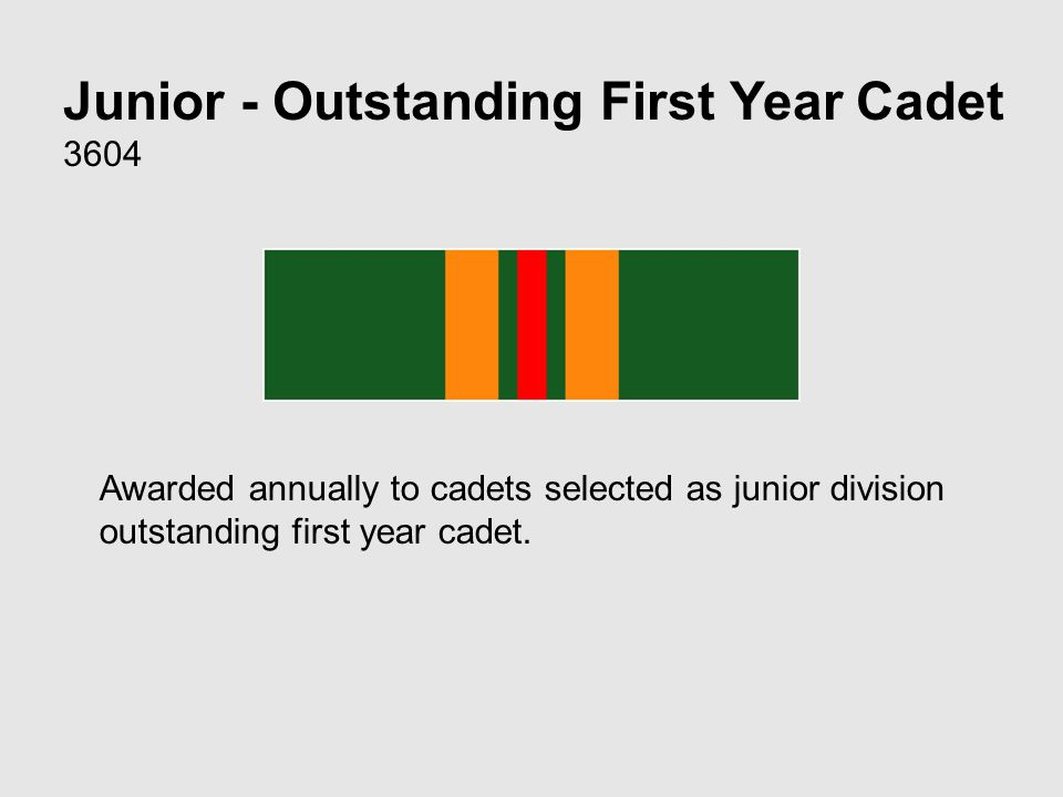 Junior - Outstanding First Year Cadet 3604 Awarded annually to cadets selected as junior division outstanding first year cadet.