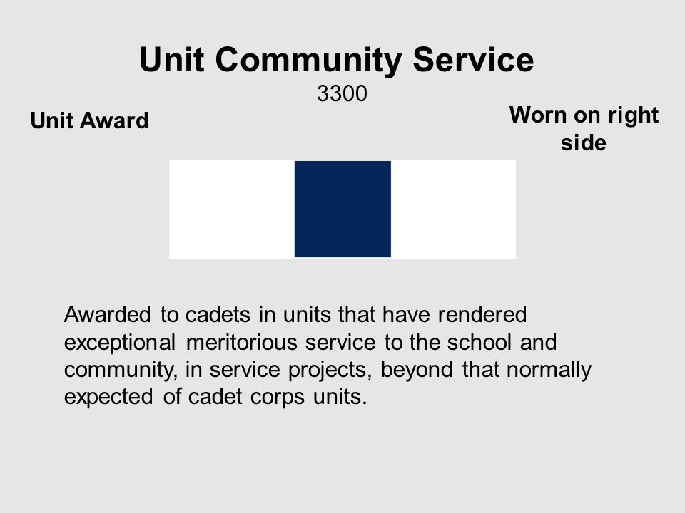 Unit Community Service 3300 Awarded to cadets in units that have rendered exceptional meritorious service to the school and community, in service projects, beyond that normally expected of cadet corps units.