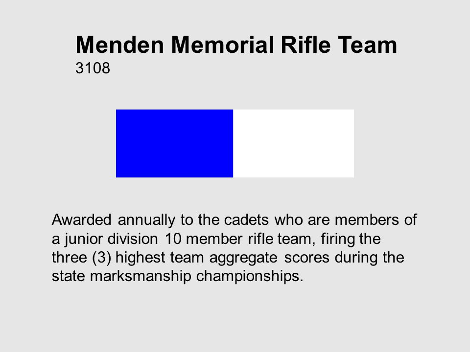 Menden Memorial Rifle Team 3108 Awarded annually to the cadets who are members of a junior division 10 member rifle team, firing the three (3) highest team aggregate scores during the state marksmanship championships.