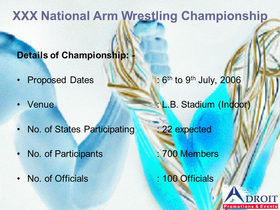 Details of Championship: - Proposed Dates: 6 th to 9 th July, 2006 Venue: L.B. Stadium (Indoor) No. of States Participating: 22 expected No. of Partic