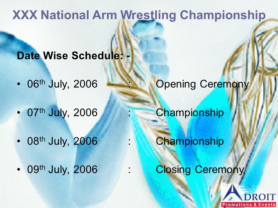 Date Wise Schedule: - 06 th July, 2006:Opening Ceremony 07 th July, 2006:Championship 08 th July, 2006:Championship 09 th July, 2006:Closing Ceremony