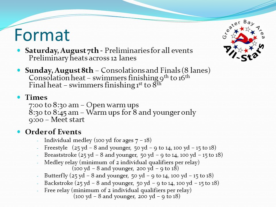 Fees $4.00 per swimmer (pool use/splash fee) $5.00 per swimmer per individual event $8.00 per relay per relay event NOTE: Swimmer may compete in four individual events if they meet qualification standards Program available for nominal fee