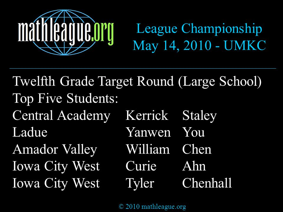 © 2010 mathleague.org League Championship May 14, 2010 - UMKC Twelfth Grade Target Round (Large School) Top Five Students: Central AcademyKerrickStaley LadueYanwenYou Amador ValleyWilliamChen Iowa City WestCurieAhn Iowa City WestTylerChenhall