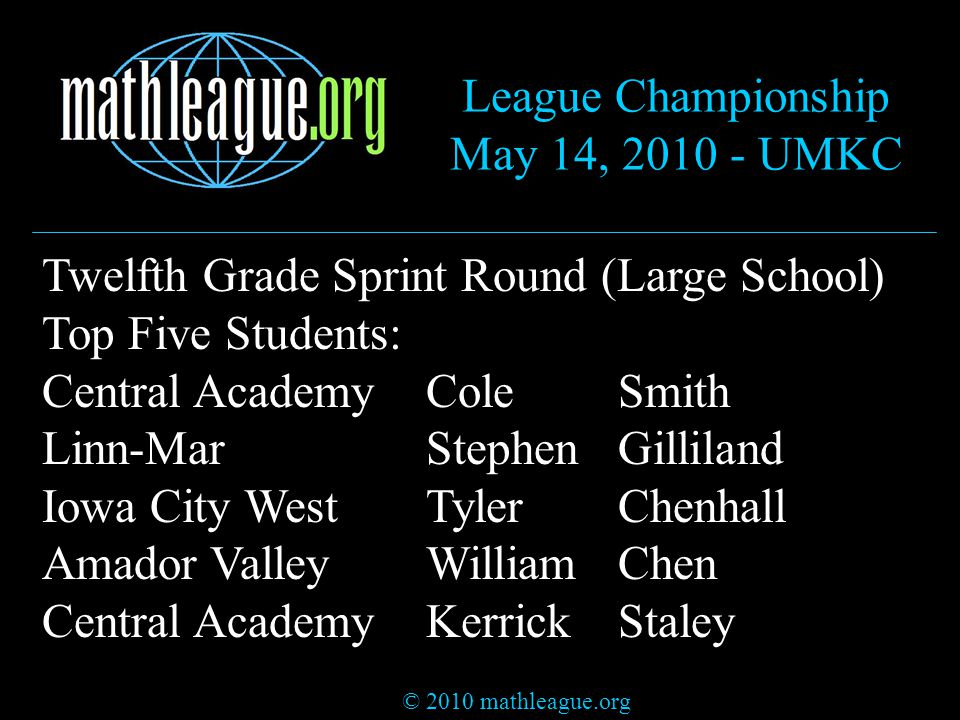 © 2010 mathleague.org League Championship May 14, 2010 - UMKC Twelfth Grade Sprint Round (Large School) Top Five Students: Central AcademyColeSmith Linn-MarStephenGilliland Iowa City WestTylerChenhall Amador ValleyWilliamChen Central AcademyKerrickStaley