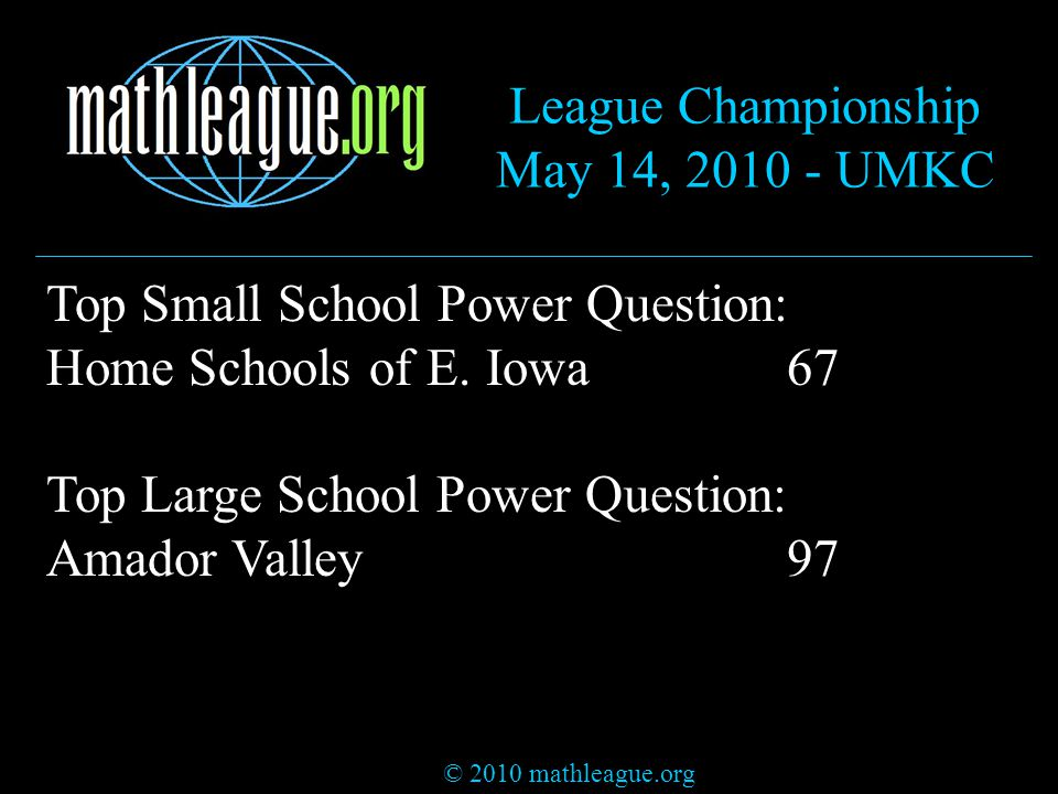© 2010 mathleague.org League Championship May 14, 2010 - UMKC Top Small School Power Question: Home Schools of E.